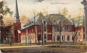 Rome New York~High School~Church Steeple~Man Crosses Street~1911 Postcard