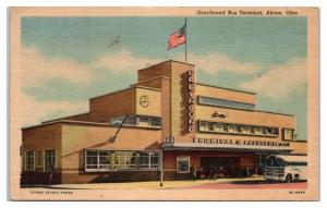 1957 Greyhound Bus Terminal Akron, OH Postcard