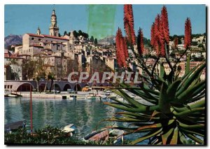 Postcard Modern Riviera Menton Harbor and Old Town