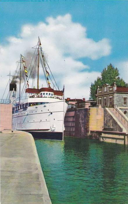 Great Lakes Cruise Steamer Leaving Canadian Locks , SAULT STE. MARIE , Ontari...