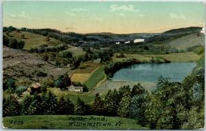 Williamstown, Vermont Postcard Cutter Pond Bird's-Eye View w/ 1917 VT Cancel