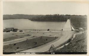 Mountain Home Arkansas~Norfork Dam & Lake~Highway~1940s Postcard RPPC