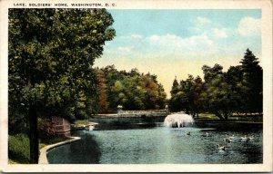 Vtg 1920s Soldiers Home Lake Fountain Swans Washington DC Unused Postcard