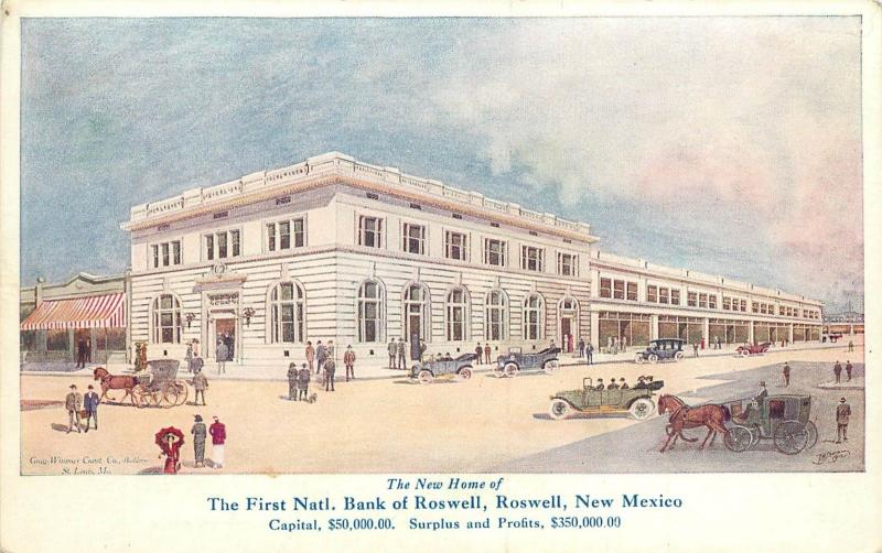 c1910 Postcard; Artist's Rendition of New First National Bank of Roswell NM