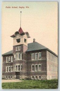 Bagley Wisconsin~Public School Building Close Up~1912 Handcolored Postcard