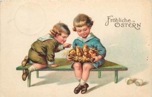 Germany 1938 Easter greetings fantasy postcard children chicks