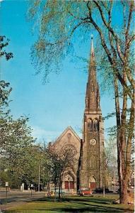 Waterbury Connecticut~St Johns Episcopal Church~1950s Car~Postcard