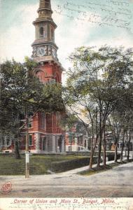 Bangor Maine~Union & Main Street~City? Building w Clock Tower~c1905 Postcard