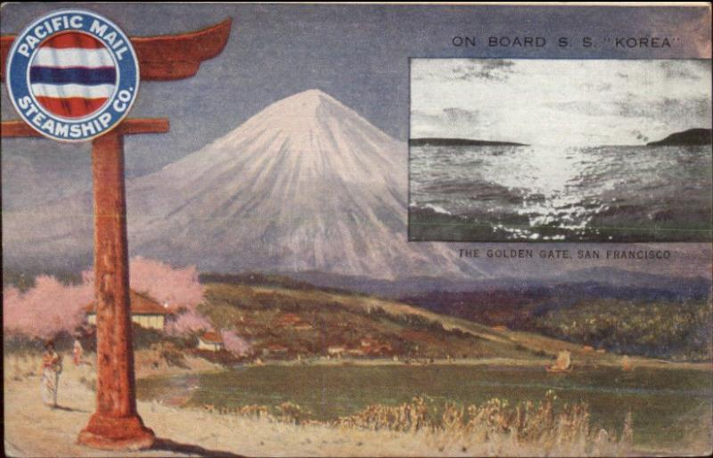 Pacific Mail Steamship Co SS Korea Golden Gate San Francicso Mt. Fuji c1910 PC