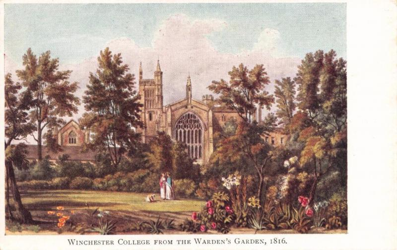 Vintage Art Postcard Winchester College from the Warden's Garden (1816)