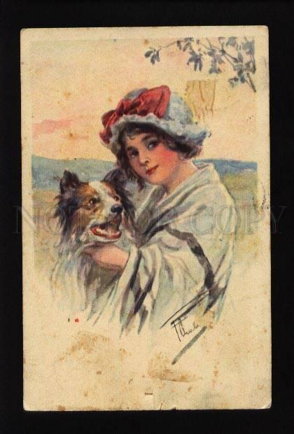 073695 Belle Lady w/ Little COLLIE Dog Vintage Color PC