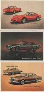 Corvette Coupe Camaro Caprice Classic Car 3x Postcard s