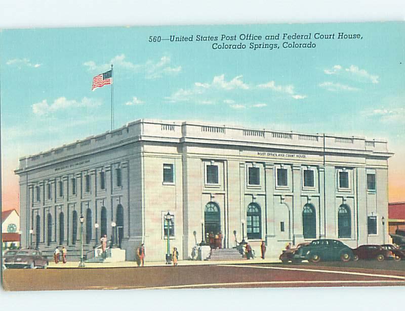 Unused Linen POST OFFICE SCENE Colorado Springs Colorado CO hs1221