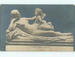 rppc c1910 Risque STATUE OF NUDE WOMAN WITH ANGEL AC8742