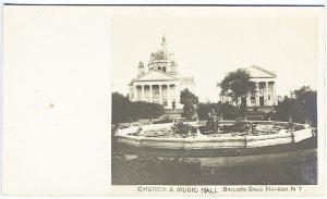 Snug Harbor NY Church Music Hall Sailors Monument Real Photo RPPC Postcard