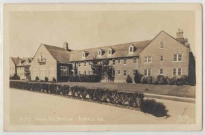 1944 BOQ Naval Air Station Building Navy Seattle WA WWII Soldier RPPC Postcard