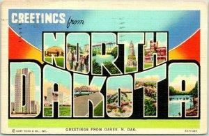 NORTH DAKOTA Large Letter Postcard Greetings from Oakes N. Dak Linen 1944