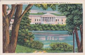 New York Buffalo Historical Building and Lake In Delaware Park 1942