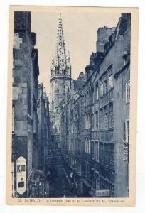La Grande Rue Et Le Clocher De La Cathedrale, St-Malo (Ille-et-Vilaine), Fran...