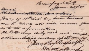 BEAUFORT, South Carolina, PU-1881; Postal card, Bill inquiry