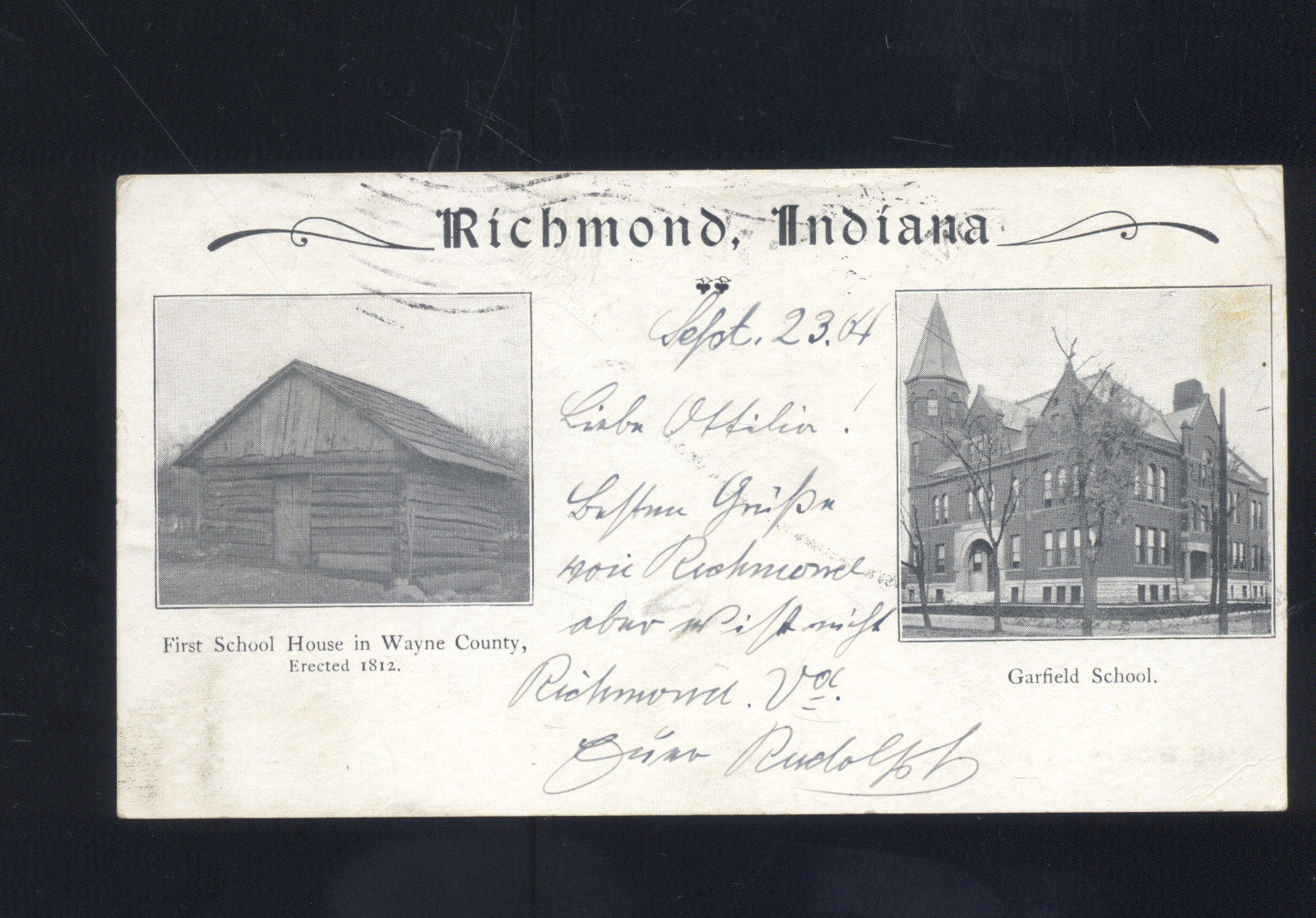 Richmond Indiana 1907 Garfield School First School House Wayne Co Postcard Hippostcard