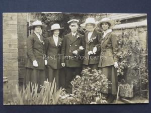 WW1 Wedding Portrait NAVY SOLDIER BRIDE & GROOM & Family c1918 RP