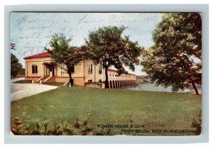 Rock Island IL, Power House & Dam Vintage Illinois c1907 Postcard