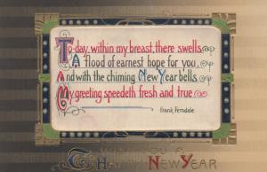 Silk Insert ; Wish you a happy New Year , 1900-10s