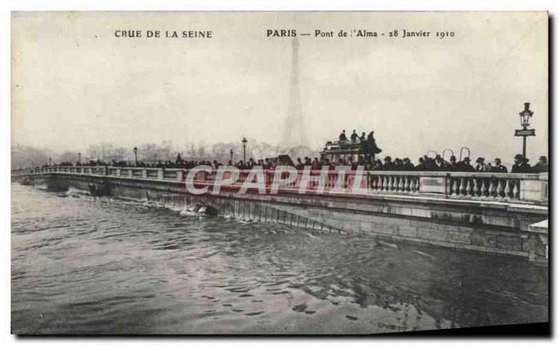 Old Postcard Paris Pont de L & # 39Alma Crue De La Seine Eiffel Tower
