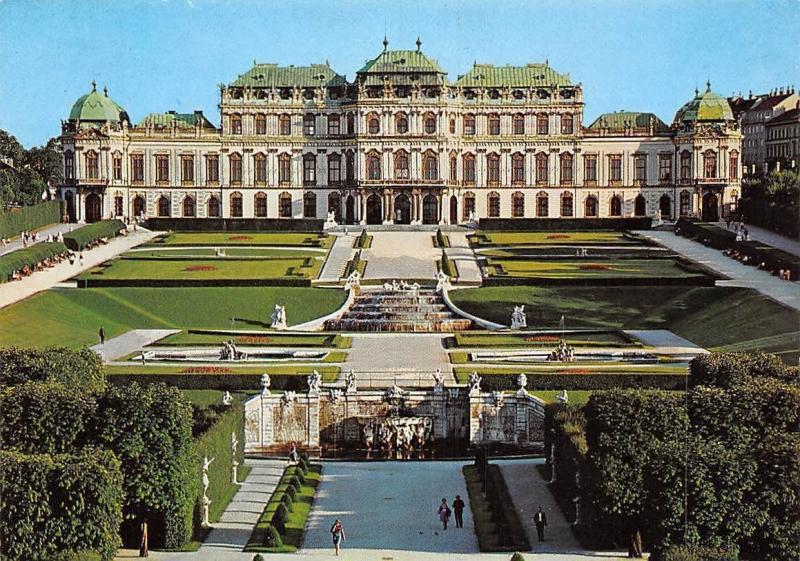 Vienna Belvedere Palace, Chateau Schloss Statues Promenade