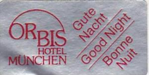 GERMANY MUENCHEN ORBIS HOTEL VINTAGE LUGGAGE LABEL