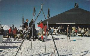 On The Garibaldi Hwy 99 at Alta Lake, Skiers, Whistler Mountain, British Colu...