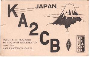 QSL, KA2CB, Japan, 1960