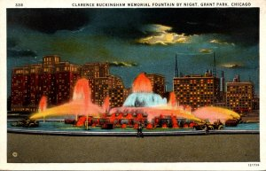 Illinois Chicago Grant Park Clarence Buckingham Memorial Fountain By Night Cu...