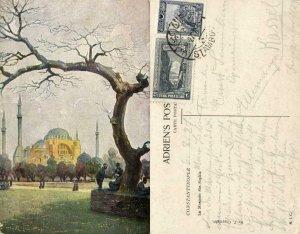 turkey, CONSTANTINOPLE, La Mosquée Ste. Sophie (1927) Artist Signed Postcard