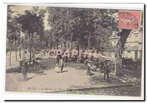 Tours Old Postcard The flower market Boulevard Beranger