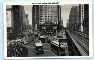 NYC Herald Square Rogers Peet Trolley Black and White New York City Postcard C21