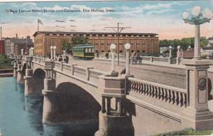 Iowa Des Moines New Locust Street Bridge and Coliseum 1920 Curteich