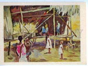 153513 OCEANIA Papua New Guinea Village Bongu hut ethnographer