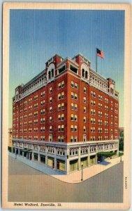DANVILLE Illinois Postcard HOTEL WOLFORD Street View Curteich Linen 1940s Unused