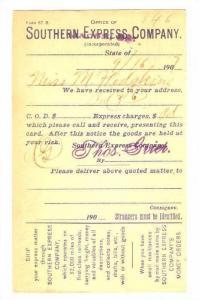 Southern Express Company Notice, Macon , Georgia, PU-1907