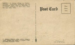 czech, LIDICE LIDITZ, 1300 In Memoriam of the Victims of Nazism 1942 Postcard