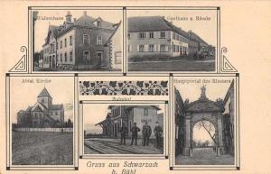 Schwarzach Buhl Germany Church Train Station Multiview Gruss Aus Postcard J80452
