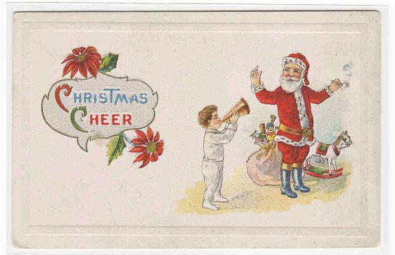 Santa Child with Horn Rocking Horse Christmas 1910c postcard