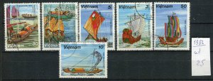 265097 VIETNAM 1983 year used stamps set SHIPS sailboats