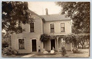 Crescent City IL~Bernice on Front Porch~2 Story Victorian~Little Boy~1912 RPPC