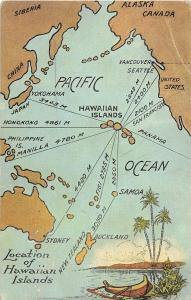 Map Hawaii Pacific Ocean Travel Routes 1920s postcard