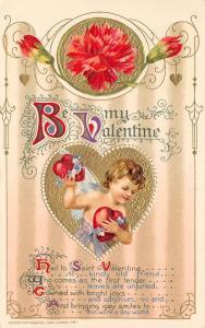 Valentine~Gossamer Cupid~Plump Flower Garland Heart~Gold Leaf Emboss~John Winsch