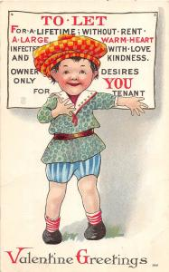 B95/ Valentine's Day Love Holiday Postcard c1910 Want Ad Tenant Child 18