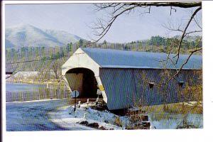 Covered Bridge in Winter Snow, Windsor, Vermont, Photo Winston Pote